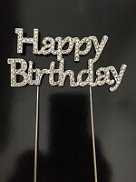 Happy Birthday Cake Pick Topper Decoration Diamante Sparkly Rhinestone UK