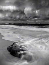 Paisaje de la Naturaleza Tormenta Mar Playa Negro Blanco Onda cartel Art Print BB1493A
