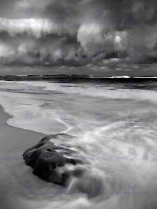 NATURE LANDSCAPE STORM SEA BEACH BLACK WHITE WAVE POSTER ART PRINT BB1493A