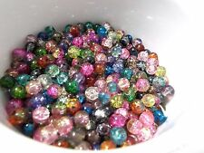 300pcs 6mm Glass Crackle Round Beads - ASSORTED COLORS / MIXED