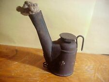Signed CROWN REGISTERED Antique COAL MINING  TIN TEAPOT Driver's CAP LAMP