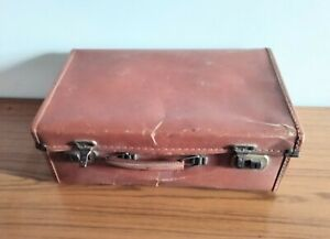 Vintage retro tan brown leather look hard small child's suitcase storage luggage