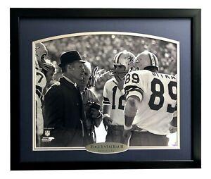 Roger Staubach Signed Cowboys Framed 16x20 Photo w/ Tom Landry JSA COA Dallas