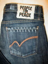 People For Peace Stretch Boot Womens Dark Blue Jeans Size 29 x 34 distress Mint