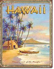 Hawaii Playground TIN SIGN beach home decor wall art vtg travel ad poster 1987