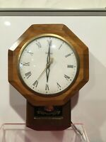 United Electric Pendulum Wall Clock Wood w/ Brass & Glass Lens Model 59 Vintage
