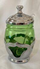 """New ListingFarber Bros. Green Glass Condiment Jar w/ Lid 4 3/4"""""""