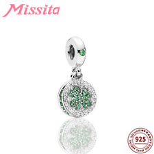 925 Sterling Silver Green Crystal Clover Charms Pandora dangle