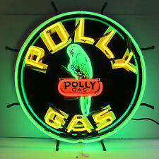 Neon sign Polly Parrot Racing Gasoline gas and oil garage shop Globe lamp light