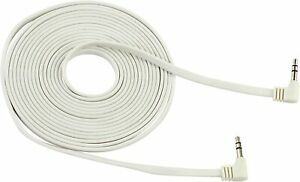 3.5mm FLAT Male to Male White Aux Cable Cord Car Audio PC Headphone Jack