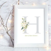 Personalised A4 Print Monogram Floral Family Initial Name Wedding Gift Wall Art