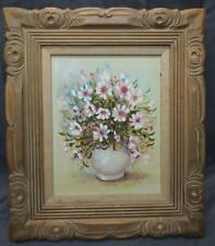Carved Wood Picture Frame Floral Flowers Still Life Signed Artist Oil Painting