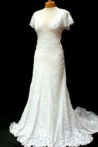 Temperley Ivory Long Honeysuckle Embroidered Wedding Dress Bridal Gown 8 36 New