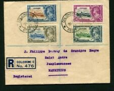 1935 Silver Jubilee Ceylon set on a registered cover to Mauritius