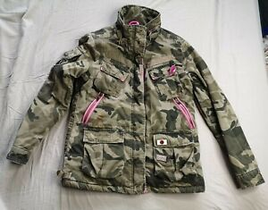 Superdry Women's Military Camflage Jacket Coat Size L Large Used Condition