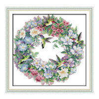 Stamped Cross Stitch Kit Pre-Printed Pattern Embroidery Kit Art of Hummingbirds