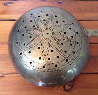 "Antique Vtg Brass Primitive Colonial Star Pattern Large Bed Warmer 44.5"" Long"
