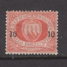 SAN MARINO 1892 10c ON 20c ARMS MH HAS SMALL THIN SG 17