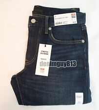 NWT Uniqlo Selvedge 29x34 Slim Straight Fit Blue Men's Denim Jeans