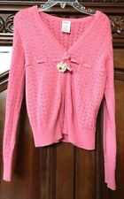 Gymboree Cable Open Knit Cardigan Pink size 6 With Flower Accents