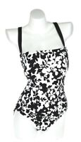 Ralph Lauren Womens Black White Regent Floral X Back One Piece Swimwear Size 16