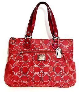 COACH Poppy Red Glam Bag Tote Signature C  Jacquard Silver Lurex 2 Hang Tags