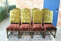 Set of  8 French Antique Louis XIV Dark Oak Upholstered Dining Chairs