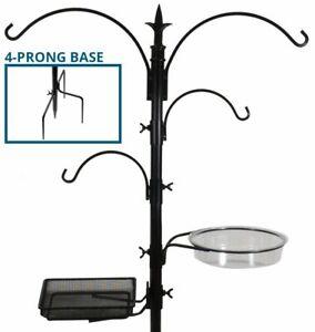 Bird Feeding Bath Station Black Metal Deck Pole for Bird Feeders w/ Stake Prongs