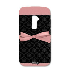 CUSTODIA COVER CASE NASTRO ROSA SFONDO NERO PER LG OPTIMUS G2 MINI D620