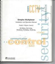Manual Simplex Multiplexer Installationa Operation Manual Hardcopy Spiral bound