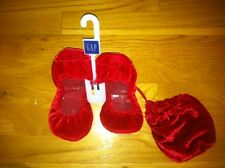 GAP WOMENS RED VELVET CITY BALLET FLATS WITH DRAWSTRING POUCH $39 SIZE 6.5 BNWT