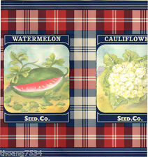 RALPH LAUREN Vegetables Seed Pack Package RED Blue Plaid Check Wall paper Border
