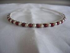 burgundy ivory bead glass pearl handmade bride wedding tiara headband aliceband