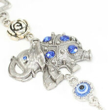 Blue Evil Eye Elephant w Flower Amulet Protection Wall Hanging Home Decor Gift