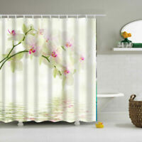 Magnolia Denudata Polyester Waterproof Bathroom Fabric Shower Curtain 12 Hook