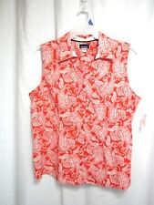 New Basic Editions Top Sz XL Red White V Neck Button Up Front Sleeveless Casual
