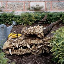 Mythological Gothic Medievel Stoker's Moors Impressive Dragon Skull Bones Statue