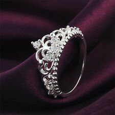 Women Princess Queen Crown Silver Plated Ring Wedding Crystal Ring Gift