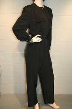 S Chaus Black Shoulder Pads Military Epaulets Vtg 80s Romper Jumpsuit Pantsuit