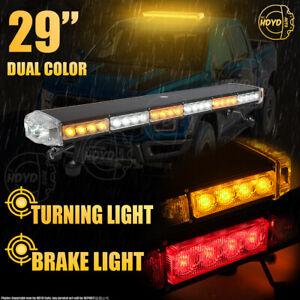 """54LED 29"""" Strobe Light Bar Emergency Beacon Warn Tow Truck Response Amber White"""