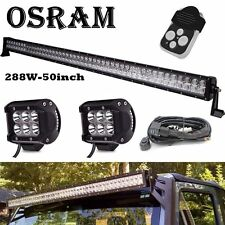 "50inch Led Work Light Bar + 2x 4"" CREE Pods Ford F150 Dodge Wrangler JK Offroad"