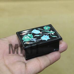 Trinket box vintage jewelry hinged rectangle black onyx art inlay mosaic decor