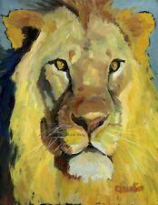 Original oil painting animal LION africa Big Cat feline impressionist art signed