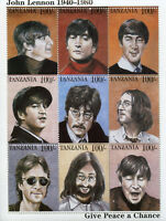 Tanzania 1995 MNH John Lennon The Beatles Peace 9v M/S Music Celebrities Stamps