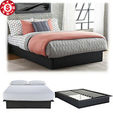 Queen Size Platform Bed Frame Faux Leather Wooden Slats Upholstered Bedroom