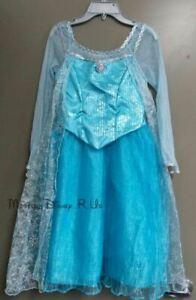 Disney Parks Frozen Princess Elsa Deluxe Costume Gown Dress Snow Queen Blue 4/5