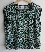 Cabi Womens Green Cheetah Envy Animal Print Jungle Top Shirt Blouse Size Small