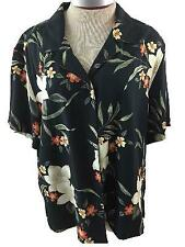 Island Traders Size XL hawaiian shirt top womens black red tan floral rayon