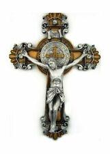 Resincrucifix1 Religious Gifts St Saint Benedict Crucifix 2 Tone Wall Cross 10 Inch Gift 731598670091