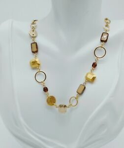 HAKUZA PURE GOLD PLATINUM BEADED CHAIN NECKLACE